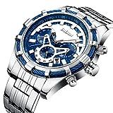 Uhren, Herren Fashion Casual Luxus Marke Chronograph Blau Uhren Edelstahl Wasserdicht Quarz Herren-Armbanduhr