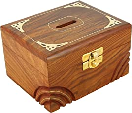 Shalinindia Wood and Brass Money Coin Bank Piggy Bank for Adults and Kids Artisan Crafted in India (3x5x4-inch)