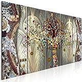 decomonkey Bilder Gustav Klimt Baum 200x80 cm 5 Teilig Leinwandbilder Bild auf Leinwand Vlies Wandbild Kunstdruck Wanddeko Wand Wohnzimmer Wanddekoration Deko Abstrakt Mosaik bunt beige braun