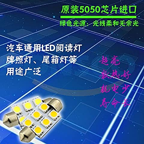 Dngy*Las luces LED doble extremo 36mm 6SMD LED 5050 es blanco blanco cálido, luz de techo, luces de lectura, es de color blanco
