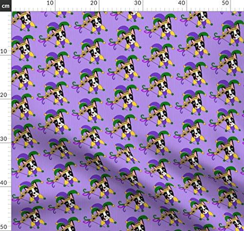 Boston Terrier, Mardi Gras, Hund, Lila, Narr, Clown, Maske Stoffe - Individuell Bedruckt von Spoonflower - Design von Missyq Gedruckt auf Chiffon