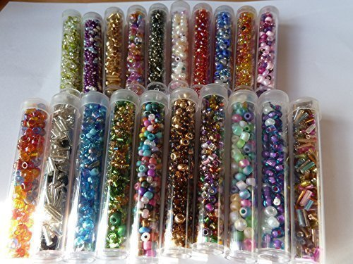 20-tubes-of-7-8g-mixed-seed-and-bugle-beads-selection-of-colour-and-sizes-total-140g-approx