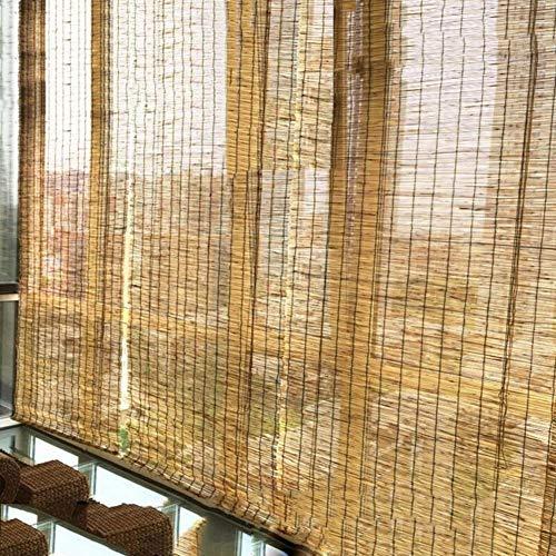 GaoLP Persiana Enrollable de Bambú, Persianas Romanas, Materiales de Caña Natural, Persianas, Protección UV, para Terrazas/Exteriores, Tamaño Personalizable