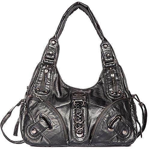 Engel Hobo Bag (Tasche Hobo Frauen Tasche geräumig mehrere Taschen Street Ladies ' Schultertasche Fashion PU Tote Bag (AK11282 Blau) (AK11282-Schwarz))