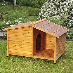 Niche en bois pour chien. Niche d'extérieur en bois pour chien solide et attrayante avec terrasse abritée.