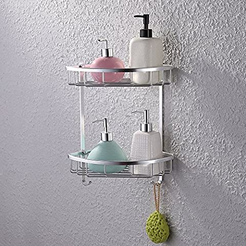 KES A4021 Aluminum Bathroom 2-Tier Corner Shelf Basket Wall Mounted,