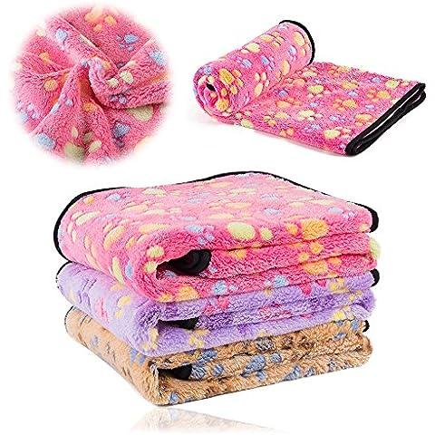 kiwitatá Mascotas Perro Gato Manta Amortiguar Suave del Cama para Mascotas Soft Fleece Blanket cojín del Perrito Cubierta Paw Print pata Cama Mats (Rosado