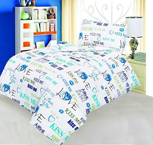 Love2Sleep–Juego de edredón y funda de almohada para cama infantil (algodón Natural,...