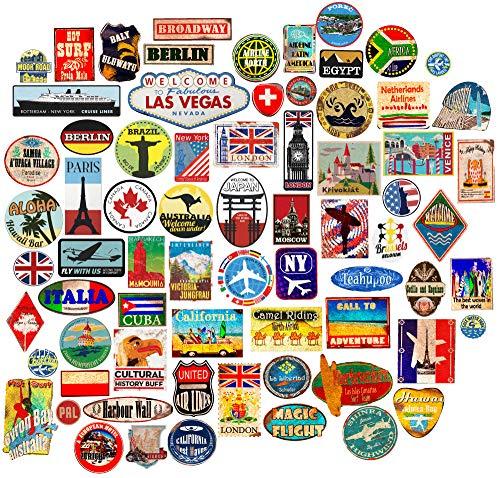 85x Pegatinas de Equipaje Parches de Maleta Etiquetas de Viaje Vintage vinilos de Estilo Vintage Retro