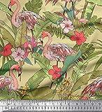 Soimoi Beige Georgette Viscose Stoff Flamingo, Blätter & Tropical Printed Craft Stoff vom Yard 42 Inch Breite