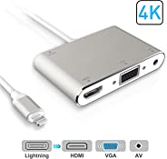 HDMI VGA AV Adapter Conventor, Video Audio Adapter for iPhone to HDMI VGA Converter and Plus Series iPad iPod to HDTV Projector Monitor (Sliver)