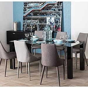 LANYON Table a manger en métal et verre trempé 8 personnes 180x90 cm - Laqué noir