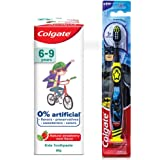 Colgate Toothpaste for Kids (6-9 years), Natural Strawberry Mint Flavour, 0% Artificial- 80g with Colgate Batman Extra Soft T