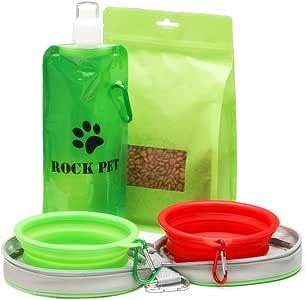 Kit di tazze pieghevoli da viaggio per cani e gatti di taglia piccola , – 2 ciotola del cane pieghevoli con borsa con cerniera bonus con clip a moschettone, Silicone Alimentare / Senza BPA