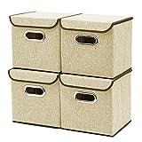 EZOWare Caja de Almacenaje x 4 unidades, Almacenaje Juguetes, Caja para Ropa,Color Khaki