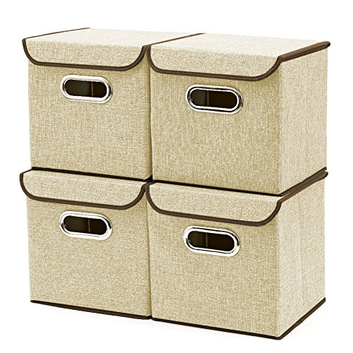 EZOWare 4-Pack Aufbewahrungsbox, 4-Pack Aufbewahrungsbox inkl. Deckel, Cube Aufbewahrungskorb Ordnungsystem Sauraum Boxen Körbe Kisten (Beige) - 25x25 cm 4 Beige Körbe
