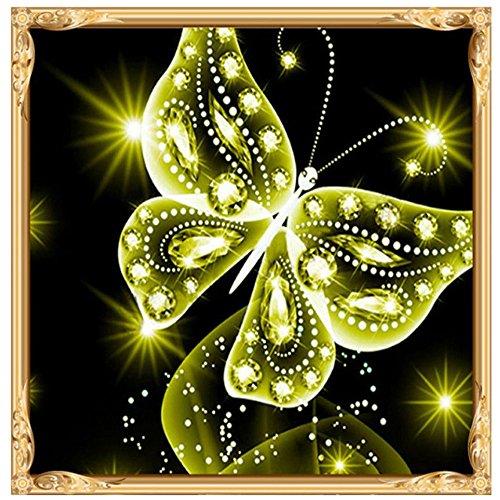 QIjinlook Diamant Malerei, Kreative Multicolor Phantom Schmetterling 5D Stickerei Gemälde, Strass + Leinwand DIY Kreuzstich Teilweise Bohrer, Kunsthandwerk für Haus Dekoration 25x25 cm (Grün) -