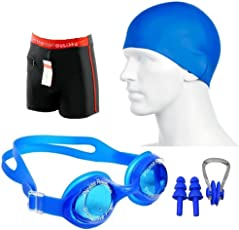 BLT Super Swimming Kit Combo of Trunks, Goggles, Nose Clip and 2 Ear Plugs (Multicolour, BLT_1666)