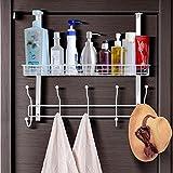 HOMFA Türgaderobe Türhaken Türhängeleiste Türregal mit 10 Haken für Handtuch Hängeregal Türhandtuchhalter Badregal ohne Bohren Duschregal zum Hängen für Shampoo