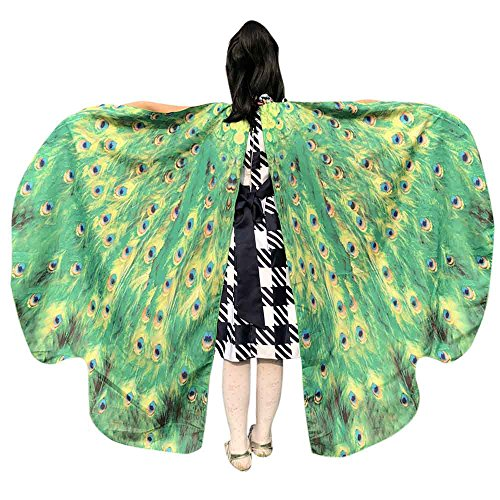 Kleinkind Kostüm Stitch - Sllowwa Schmetterling Kostüm Damen Schmetterling Schal Flügel Tuch Schmetterlingsflügel Cosplay Erwachsene Poncho Umhang für Party Weihnachten Kostüm Karneval Fasching(Grün)