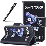 Schutzhülle Case für Samsung Galaxy J5 2016,BtDuck Lila Hülle Handyhülle PU Briefcase Tier Blume Schmetterling Bunt Cover Tasche Etui Hülle Leder Silikon - Don't Touch My Phone