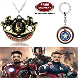 (2 Pcs AVENGER SET) - IRONMAN HANDS IMPORTED PENDANT (GOLD) & CAPTAIN AMERICA REVOLVING SHIELD KEYCHAIN. LADY HAWK DESIGNER SERIES 2018. ❤ ALSO CHECK FOR LATEST ARRIVALS - NOW ON SALE IN AMAZON - RINGS - KEYCHAINS - NECKLACE - BRACELET & T