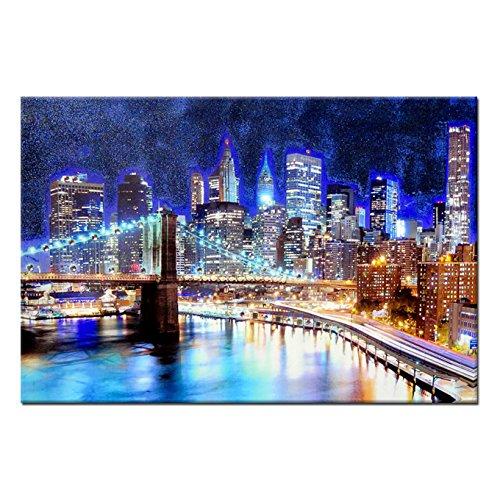 Quadro gioiello stampa su tela con strass e glitter New York notte 60x90