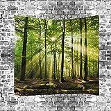 GuDoQi Tapisserie Sonniger Wald Natürliche Landschaft Kunst Abstrakt Tapisserie Wandteppich Wand Dekoration Home Decor Beach Blanket