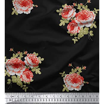 0669c9d01902 Soimoi 42 Zoll breit Craft mit Blumenmuster Viskose Chiffon Nähen Stoff 55  GSM Per Meter-