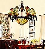 Vintage Makernier estilo Tiffany de cristal 6brazos loros lámpara con techo invertido lámpara de techo colgante