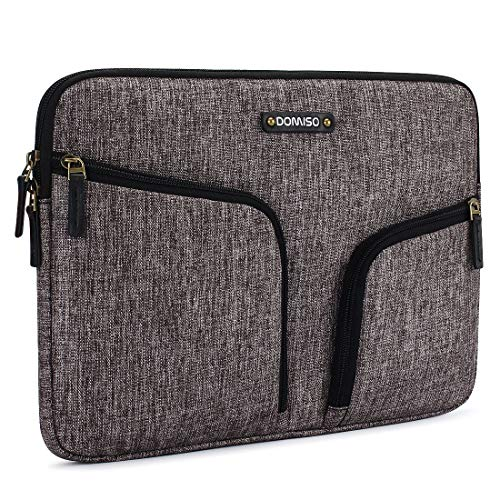 DOMISO 15,6 Zoll-Laptop Sleeve Schutzhülle Canvas, Griff mit Tasche Bag für 15,6 Zoll-Notebooks/Lenovo ThinkPad/IdeaPad/Acer Aspire 5 5 Spin/HP Envy x360/Dell Inspiron, ASUS, Grau