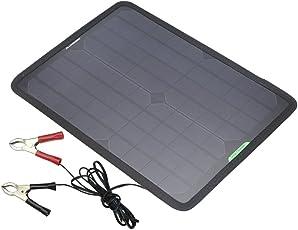 ALLPOWERS 18V 12V 10W Portable Solar Panel Ladegerät Maintainer Bundle mit Zigarettenanzünder-Stecker, Krokodilklemme für Automobil-Motorrad-Traktor Boot RV
