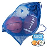 K-Roo Sports mini sport Pack: pallone da calcio gonfiabile, palla da calcio, basket e in un mini mesh Coaches bag