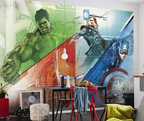 Komar - Marvel - Fototapete Avengers Graphic Art- 368 x 254 cm - Tapete, Wand Dekoration, Superhelden, Comic - 8-456