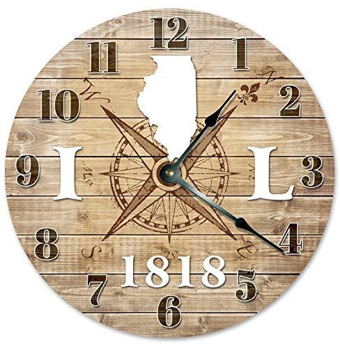 Große Antike Karte (Monsety Antike, Runde Holzuhr für Schlafzimmer, Illinois, 1818 gegründet, mit Kompass-Karte, rustikale Wanduhr, Dekoration für Kinderzimmer, groß, 38 cm, Wohnzimmer-Uhr Geschenk)