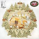 Exclusives, beleuchtetes Holz Fensterbild, Motiv: Weihnachtsmann auf Schlitten