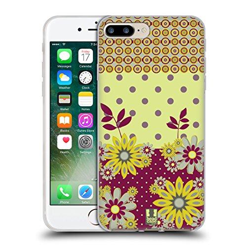 Head Case Designs Pattern Margherite Strisce Floreali Fashion Cover Morbida In Gel Per Apple iPhone 7 Plus / 8 Plus Giallo Marrone
