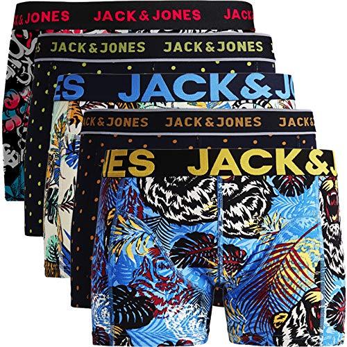 JACK & JONES Herren 5er Pack Boxershorts Mix Unterwäsche Mehrpack,5er Pack Bunt 7 Ohne Wäschesack,XXL