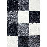 Teppich Hochflor Langflor Wohnzimmer günstig Shaggy kariert Schwarz Weiss Grau - 200x290 cm