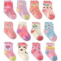 12 Paia Ragazza del Neonato Infantile Bambino Calzini di Cotone, Calzini Antiscivolo per Bambine e Ragazze per Bebè