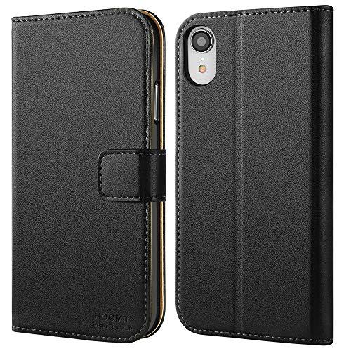HOOMIL Handyhülle für iPhone XR Hülle, Premium Leder Flip Schutzhülle für Apple iPhone XR Tasche, Schwarz Iphone-leder-tasche