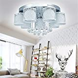 MCTECH® 54W Kristall Deckenleuchte Hängeleuchten Wohnzimmer 7 flammig Kristall LED E27 RGB Deckenlampe Wandlampe Hängelampe Luster Pendelleuchten Weiß (54W Kaltweiß 7 flammig)
