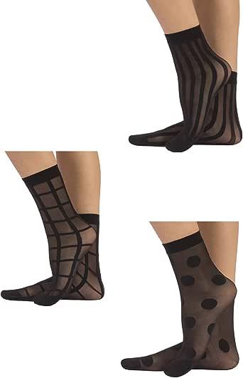 CALZITALY 3 Paar Damen Gemusterte Socken   Feine Elegante