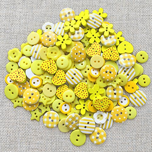 150pcs-yellow-mix-wood-acrylic-resin-buttons-for-cardmaking-embellishments