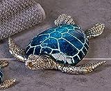 Figur Schildkröte Josie Poly blau silber 18 cm Skulptur