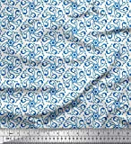 Soimoi Blau Baumwolle Batist Stoff dot & Paisley