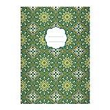 16 Grafische Ethno DIN A5 Schulhefte, Schreibhefte mit Sternen Muster im Boho Stil in blau grün Lineatur 4 (liniertes Heft)