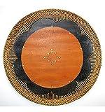 Artisanal Set de Table Rond en Bois et rotin, décoration de Table Ethnique Chic.