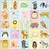 Poster 50 x 50 cm: Tieralphabet Deutsch von Judith Loske - hochwertiger Kunstdruck, Kunstposter