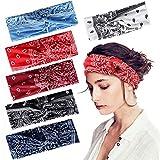 Joinfun Stirnband Damen Kopfband Haarband Turban Elastische Weiche Stirnband Blume Muster bedruckt Verdreht Baumwolle bandana